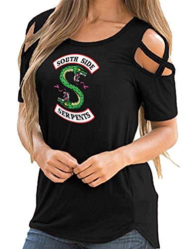 Riverdale Southside Serpents T-Shirts Damen, Teenager Mädchen Mode Off Shoulder Sommer Sport Tops Elegante Schulterfrei Kreuz Oberteile Lässige Blusen Shirt Hemd Frauen Kurzarm T-Shirts Tops