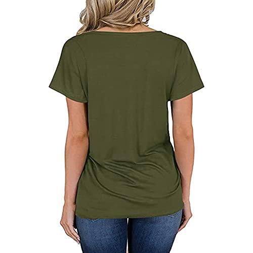 Camiseta sólida para Mujer Camiseta de Manga Corta con Cuello en V Camiseta Informal de Verano con Cuello en V Camisetas sólidas Blusas Sueltas raglán Sueltas Camisetas Camiseta básica con Bolsillo