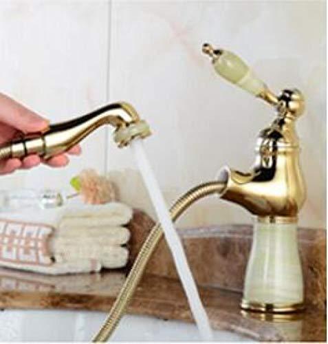 WANDOM mode Jade en messing constructie goud klaar badkamer wastafel waterkraan wastafel waterkraan mixer met uittrekbare douchekop wit jade