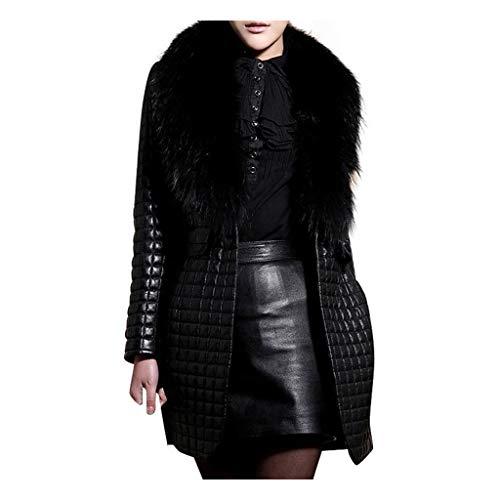 HINK Manteau pour femmes hiver, hiver en fausse fourrure en cuir à manches longues manteau veste vêtements d'extérieur pardessus long, vestes pour femmes hiver (noir XXL)
