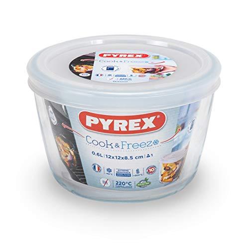 Pyrex - Cook & freeze - Plat Rond en Verre avec Couvercle 0.60 L / Ø 12 cm