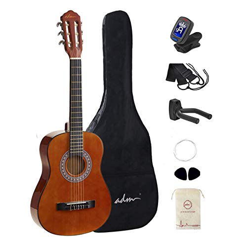 ADM Beginner Acoustic Classical Guitar 1/2 size 34 Inch Nylon Strings Wooden Guitar Bundle Kit with Carrying Bag & Accessories, Sunset
