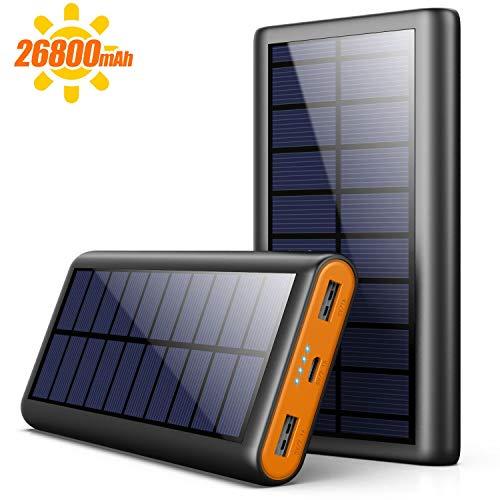 AOPAWA Powerbank Solare 26800mAh, Caricabatterie Solare Portatile Caricatore Solare Grande capacità Batteria Esterna Ricarica Rapida con 2 USB Porte p