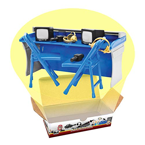 Blue & Gray Commentator Table Playset for Wrestling Action Figures