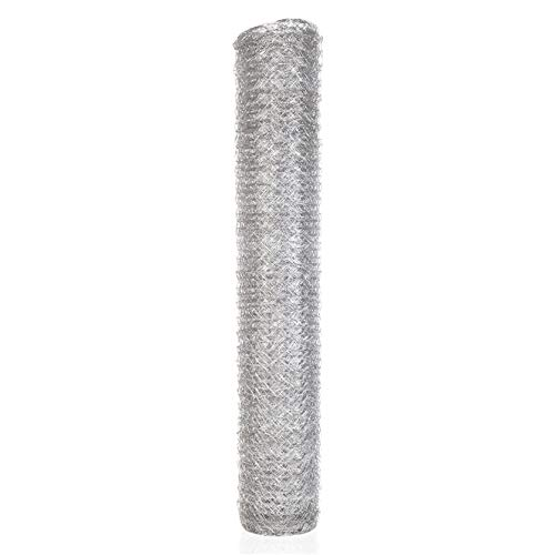 TINVHY 48 Inch x 150FT x 2 Inch Galvanized Hexagonal Wire Poultry Netting Mesh for Craft Projects and Gardening Metal Mesh Fencing/Chicken Wire