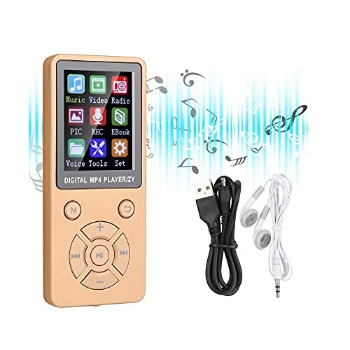 Plyisty Lettore MP3 MP4 da 32 GB con Bluetooth 4.2, Lettore Musicale Portatile con Schermo a Colori da 1,8 , 6-8 Ore, Supporto per e-Book, Immagini, Video, Radio, Registrazione(Oro Rosa)