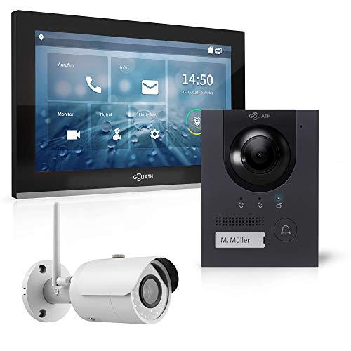 Goliath Hybrid | IP | Full-HD Video Türsprechanlage | App | 1-Fam | 1 x Full-Touchscreen 25,4 cm (10') | Aluminium Aufputz Türstation | 180° Ultra-Weitwinkel | AV-IPS-115