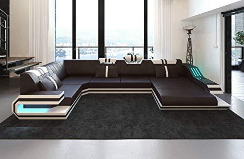 Sofa Dreams Leder Wohnlandschaft Ravenna U Form Dunkelbraun-Weiss