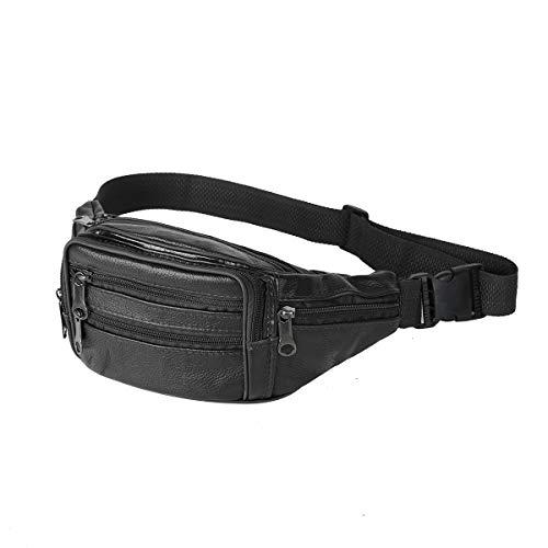 Leathario Bolso de Cintura Riñonera de Marcha y Running Acampada para Hombres Deporte Viaje al Aire Libre (Negro 3)