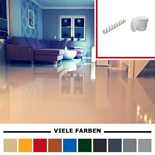 Komplett-Set Home Profis® HPBI-500 Epoxidharz Bodenbeschichtung Innen (25m²) – inkl. 30 Liter Eimer und Beschichtungswalze – Epoxy Garage Werkstatt Bodenfarbe (RAL 1002 Sandgelb)
