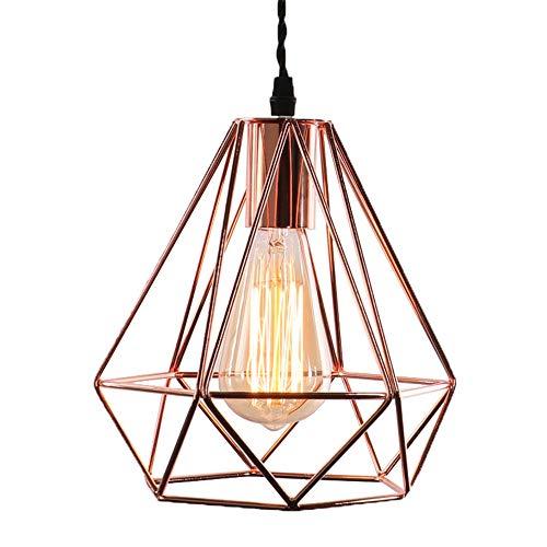 Moderna lámpara de techo lámpara metal cobre jaula de cesta de oro rosa luz colgante bronce E27 base para la decoración doméstica salón