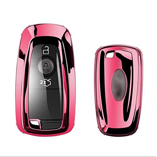 Funda protectora para llave de coche, TPU para llave de coche, compatible con Ford Fusion Mustang Explorer F150 F250 F350 EcoSport Edge S-MAX Ranger Lincoln Mondeo, G, rosa