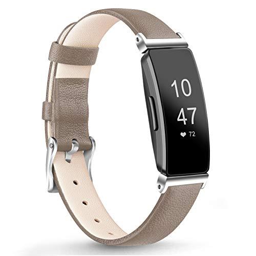Vancle Kompatibel für Fitbit Inspire HR Armband/Fitbit Inspire Armband, Weiches Lederarmband Echt Leder Ersatzarmband für Fitbit Inspire/Inspire HR (Grau)