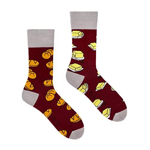 Spox Sox Casual Unisex - mehrfarbige, bunte Socken für Individualisten, Gr. 40-43, Brötchen und Butter