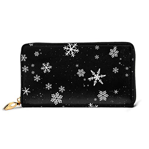 Copo de nieve invierno patrón señoras monedero grande con múltiples ranuras para tarjetas capacidad cartera de cuero de las mujeres cartera largo embrague cartera