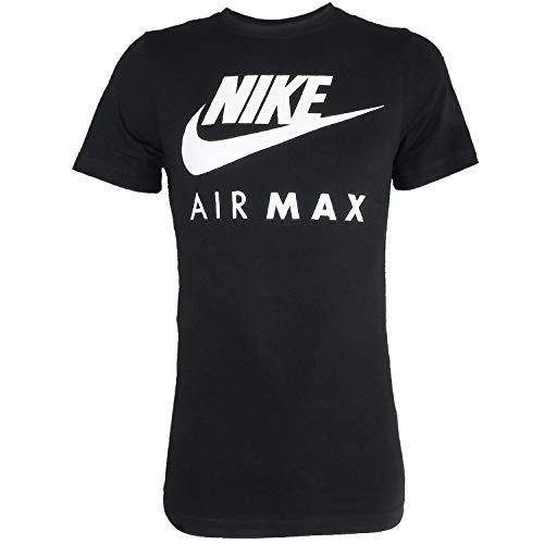 Nike Air Max - Camiseta de manga corta y cuello redondo, para hombre S-2X L negro negro Large