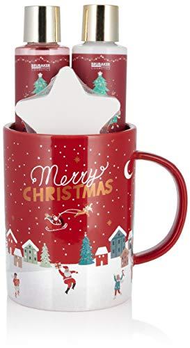 BRUBAKER Cosmetics Set de Baño y Ducha Fragancia de Bayas de Invierno - Set de Regalo de 4 Piezas en un Vaso grande - Set de Navidad para Mujeres y Hombres