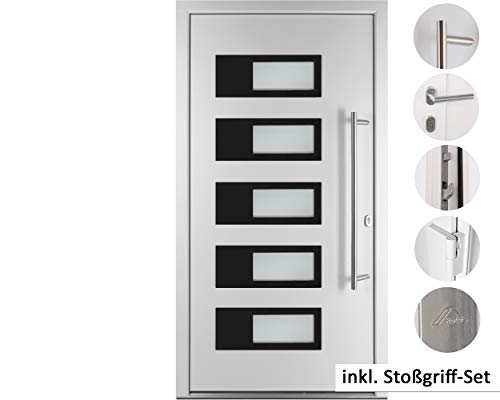 kuporta Alu-Kunststoff Haustür SKULLY DOOR weiß 110 x 210 cm DIN links inkl. Stoßgriff-Set
