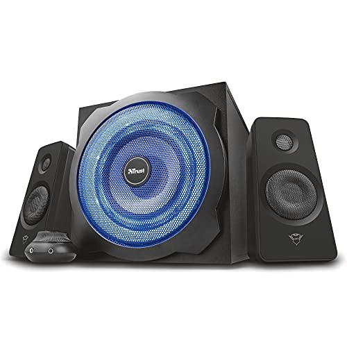 Trust GXT 628 2.1 Lautsprechersystem mit Subwoofer und LED-Beleuchtung, 120...