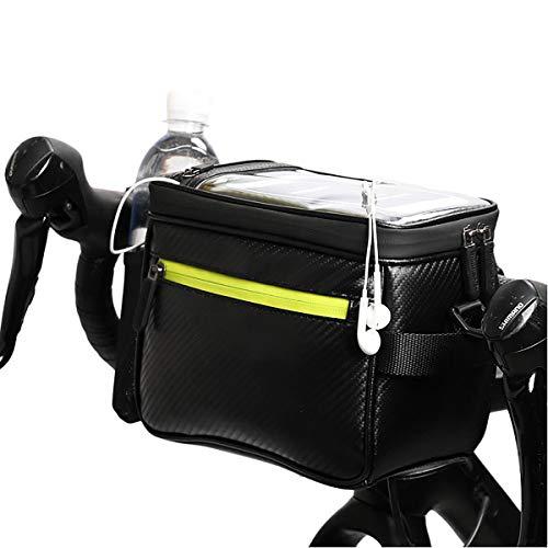 Lesrly-Cycle Bike Basket, Waterproof Front Top Tube Storage Bag, Frame Bag with Detachable Shoulder Strap, Suitable for Most Bikes,Carbon Fiber Black Green