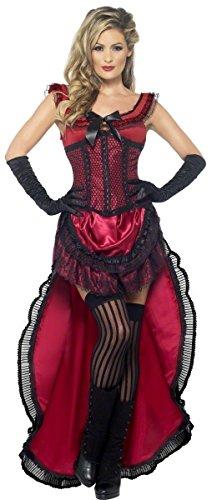 Fancy Me Damen rote Mädchen Saloon Burleske Puff Babe Wilder Westen Can Can Junggesellinnenabschied Kostüm Kleid Outfit UK 8-18 - Rot, 16-18