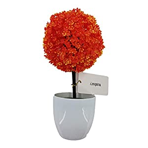 Silk Flower Arrangements Empitu Artificial Flowers Sakura Snowball Fire Red Man Made Flower Home Indoor Decor for Desk Kitchen Living Room and Kids Room Decoration with Pot Suitable for Offices, Home Furnishings, Model