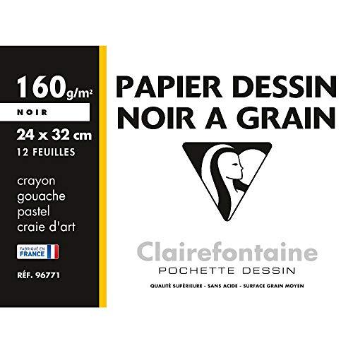Clairefontaine 96771C - Une pochette Dessin à grain Etival 12 feuilles 24x32 cm 160g, Noir