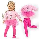 Uteruik Ropa de muñeca para trajes de muñeca americana de 46 cm, falda y leggings estampado de flamencos (#D)