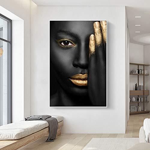 Pintura en lienzo con retrato de mujer de piel negra con labios sexis dorados, carteles e impresiones, Cuadros, cuadro artístico de pared para decoración de sala de estar 40x50cm