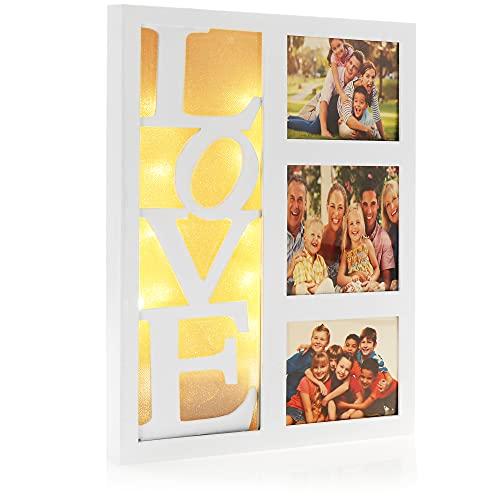com-four® Bilderrahmen Love - Fotorahmen für 3 Bilder mit LED - Deko-Rahmen aus Holz und Kunststoff zum Aufhängen (weiß - Love)