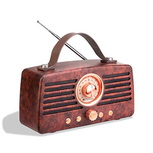 Retekess TR607 Retro Radio Altavoz Bluetooth Altavoz estéreo Bluetooth con Radio FM, Radio Vintage Recargable con USB, TF y Puerto AUX (Madera de nogal)