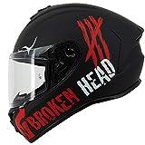 Broken Head Adrenalin Therapy 4X - Sportlicher Integralhelm - Motorrad-Helm - Rot Matt - Größe L...