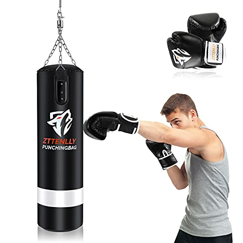 ZTTENLLY Punching Bag with Gloves - UNFILLED Hanging Punching Bag Heavy Bag - Adjustable Weight -...