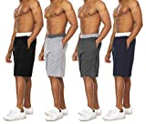 Essential Elements 4 Pack: Men's Brushed French Terry Fleece Casual Athletic Lounge Sleep Drawstring Shorts with Pockets (Large, Set A)
