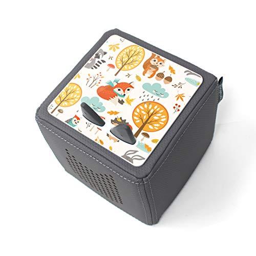 yabaduu Schutzfolie Schutzcover für Toniebox passgenau selbstklebend kindgerecht Folie Zubehör für Kinder Spielzeug (Y031-17 Waldtiere, Ohne Wunschname)