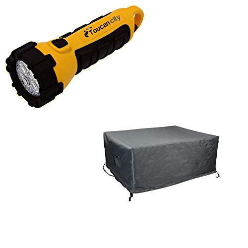 Toucan City LED Flashlight and Astella Titanium Shield Outdoor Rectangular Fire Table Cover COV-TT5232