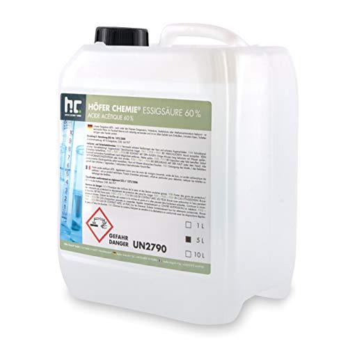 1 x 5 L Essigsäure 60% - frisch abgefüllt im handlichen 5 L Kanister