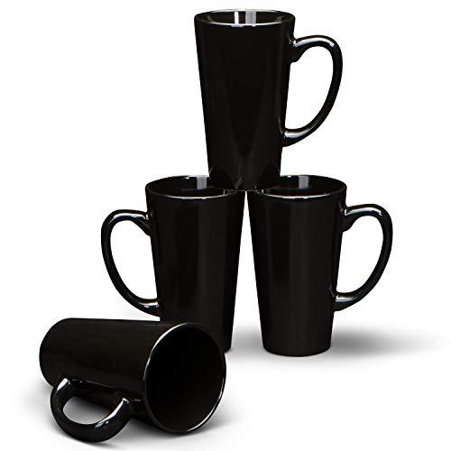 Serami 15oz Black Funnel Ceramic Tall Coffee Mugs with Large Handles, Set of 4