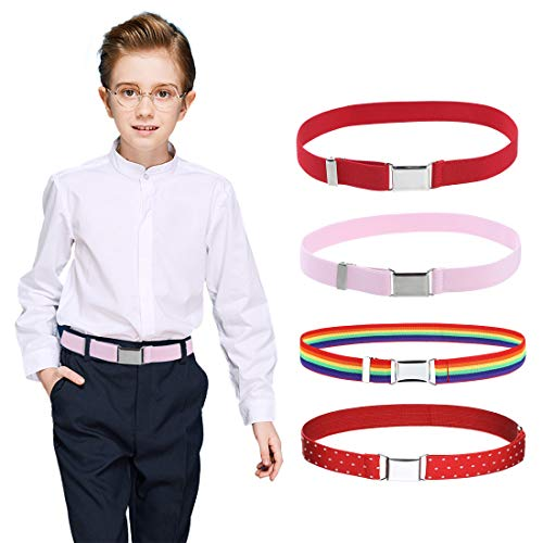 4PCS Kids Boys Elastic Buckle Belt - Adjustable Belt with Silver Square Buckle for Girls Childs By Kajeer (Pink/Rainbow/Red/Red wave point)