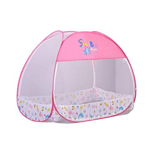 WLD Cama con dosel para niños Mosquitera con doble puerta Protección contra mosquiteros Cúpula redonda Plegable con fondo para bebés Cuna Rosa, Estilo 1,estilo 2