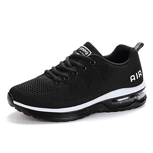 frysen Laufschuhe Herren Damen mit Dämpfung Sportschuhe Air Turnschuhe Luftsohlen Sneaker Luftpolster Schuhe Black 37