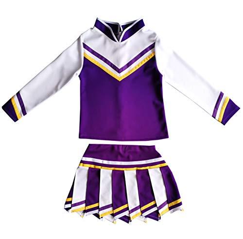 Kids/Girls' Children Minis Sport Cheerleader Cheerleading Long Sleeves Costume Uniform Outfit Dress Violet/White (S / 2-5)