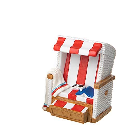 Topshop24you wunderschöne Urlaubskasse,Reisekasse Spardose Strandkorb rot/weiß mit Gummipfropfen