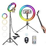 Luce ad Anello LED con Treppiede, Luce LED Tik Tok 10'', 26 RGB Selfie Ring Light, Luce per Selfie per Videoconferenza, Youtube, Streaming Live, Fotografia