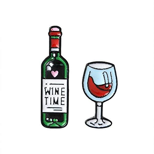 Pin Broche Insignia Broche Pin de solapa Mini copas de vino y copas de vino lindas Alfileres de pareja Botella de vino tinto Broches de copa Insignia de esmalte para amantes Alfileres de mejor amigo-E