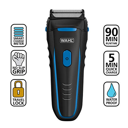 Wahl Groomsman Electric Shaver Rechargeable Wet/Dry Waterproof Electric Razor for Cordless Men's Grooming - Lithium Ion with Long Run Time & Quick Charge – Model 7063