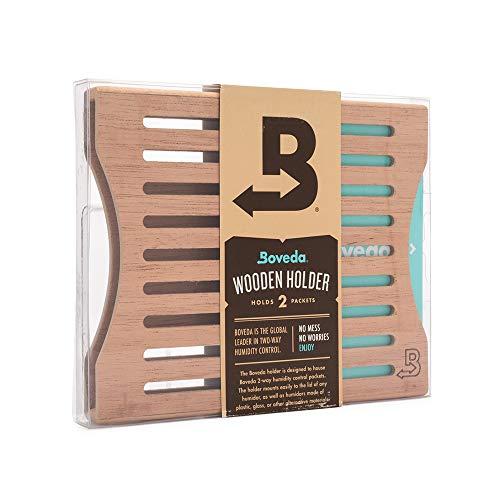 Boveda für Zigarren | Boveda-Halter aus Holz für Humidor | zur Verwendung bei zwei (2) Boveda der Größe 60 nebeneinander (separat erhältlich) | mit Magnet- und Velcro®-Befestigungssets | 1 Stück