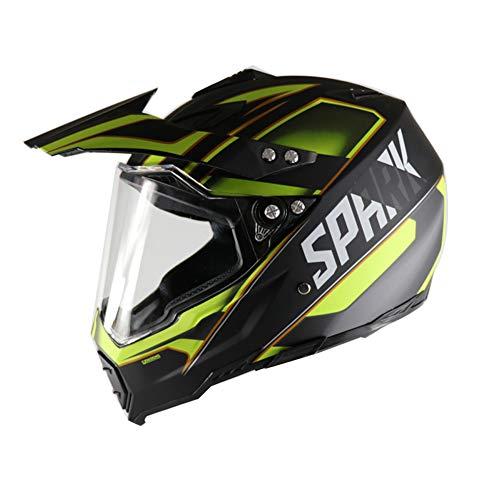 SanQing Motorcycle Helmet,Youth Kids Dirt Bike Helmets,Full Face Motocross Off-Road Downhill Helmet with Visor Racing Helmet Four Seasons Universal,YellowTroops,S