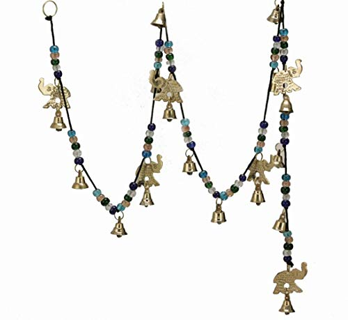 Beautiful Large Wind Chimes Outdoor Sound Rich Relaxing Tones - Brass Bells, Elephant Bells on a String with Colorful Beads - Music to Your Ears (56-inches Long, Polished Brass with Elephants)