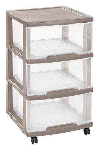 CURVER | Tour de rangement Essentials 3 Tiroirs 20L, Taupe, 37,1 x 38,9 x 67 cm, Plastique